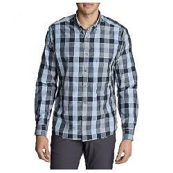 Eddie Bauer Travex Men's On the Go Long Sleeve Poplin Shirt Pacific Blue
