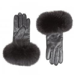 Peter Glenn Leather Glove with Fox Fur Trim (Women's)