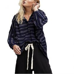 Free People Women's Rolling Clouds Pullover Top Navy