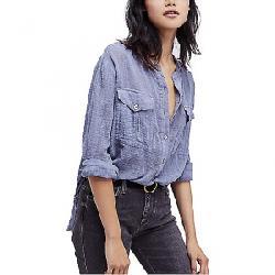 Free People Women's Talk to Me Buttondown Shirt Blue