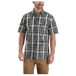 Carhartt Men's Essential Plaid Open Collar SS Shirt Gravel