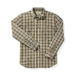 Filson Men's Feather Cloth Shirt Olive / Khaki Plaid