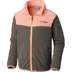 Columbia Youth Mountain Crest Fleece Full Zip Top Charcoal Heather / Tiki Pink