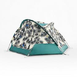 The North Face Homestead Domey 3 Tent Peyote Beige Birding Print / Jasper Green