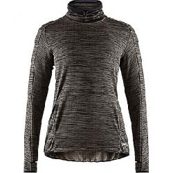 Craft Women's Sweep Grid Turtleneck LS Top Black Melange