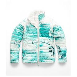The North Face Girls' Reversible Mossbud Swirl Jacket Kokomo Green Snow Wave Print