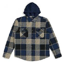 Brixton Men's Bowery Hood Long Sleeve Flannel BLACK/BLUE