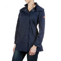Save The Duck Womens Full Length Hooded & Double Breasted Rain C Navy Blue