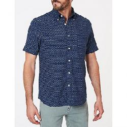 Faherty Men's SS Pacific Shirt Navy Fleck