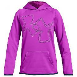 Under Armour Girls' Armour Fleece Dual Logo Hoody Fluo Fuchsia / Techno Teal