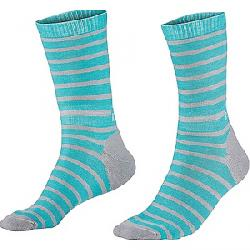 Mons Royale Women's All Rounder Stripes Crew Sock Tropicana / Grey