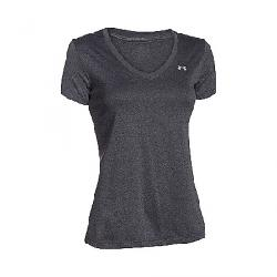 Under Armour Women's UA Tech Solid V-Neck SS Top Carbon Heather / / Metallic Silver