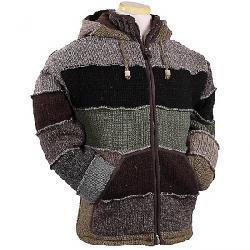 Laundromat Men's Patchwork Fleece Lined Sweater Green