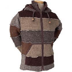 Laundromat Men's Patchwork Fleece Lined Sweater Dark Brown