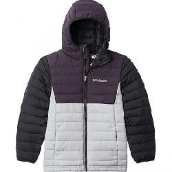 Columbia Boys' Powder Lite Boys Hooded Jacket Columbia Grey / Dark Purple / Black