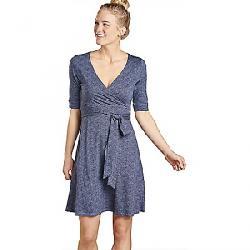 Toad & Co Women's Cue Wrap CafT Dress True Navy Herringbone Print