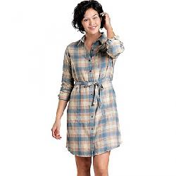 Toad & Co Women's Re-Form Flannel Shirt Dress Almond