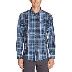 Eddie Bauer Travex Men's On the Go Long Sleeve Poplin Shirt Dusty Blue