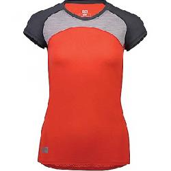 Mons Royale Women's Bella Tech Tee Poppy/Charcoal/Grey Marl
