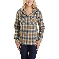 Carhartt Women's Relaxed Fit Flannel Hooded Plaid Shirt Bluestone