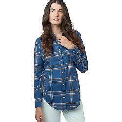 Tentree Women's Lush LS Button Up Sooke Plaid / Dark Ocean Blue