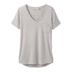 Prana Women's Foundation SS V Neck Top - Plus Light Grey Heather