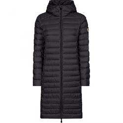 Save The Duck Women's Giga Long Hooded Coat Grey Black