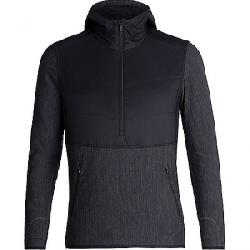 Icebreaker Men's Descender Hybrid LS Half Zip Hood Black / Jet Heather