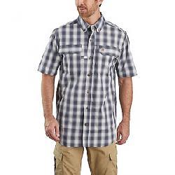 Carhartt Men's Force Relaxed-Fit Lightweight SS Button-Front Plaid Sh Bluestone