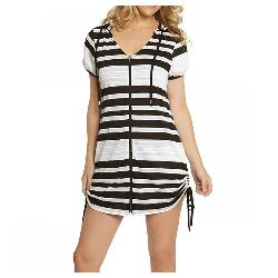 Dotti Line List Tunic Hoodie Bathing Suit Cover Up