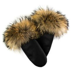 Mitchies Matchings Leather Mittens w/Fur Trim Womens Mittens