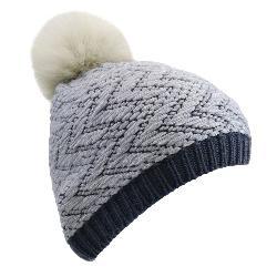 UGG Chevron Beanie w/Fur Pom Womens Hat