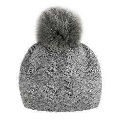 Mitchies Matchings Knitted with Crystals Fox Pom Womens Hat