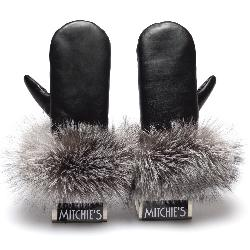Mitchies Matchings Leather with Fur Trim Womens Mittens