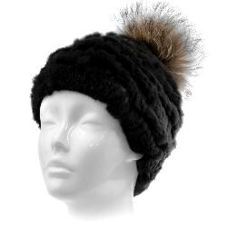 Mitchies Matchings Rabbit Beanie with Fox Fur Pom Womens Hat
