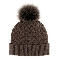 Mitchies Matchings Braided Knit with Fox Fur Pom Womens Hat