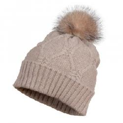 Peter Glenn Knotted Knit Hat with Fox Fur Pom (Women's)