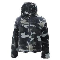 White Sierra Print Fuzzy Bomber Fleece Hoody (Little Kids')