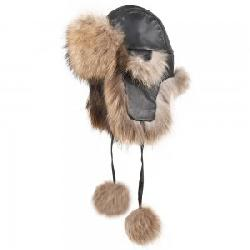 Peter Glenn Leather and Real Fur Trapper Hat (Adults')