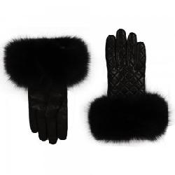 Peter Glenn Quilted Leather Glove with Fox Fur (Women's)