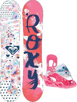 Roxy Poppy Snowboard w/ Poppy Speed Strap Bindings